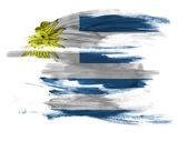 Drapeau de l'uruguay peinte sur la surface blanche — Photo