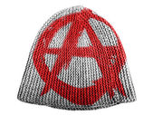 Anarchy symbol painted n painted on cap — Stock Photo