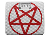 Pentagram symbol painted on painted on balance — Stock Photo