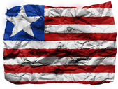 Liberia. Liberian flag painted on crumpled paper — Stock Photo
