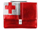 Tonga flag painted on small briefcaseor leather handbag — Stock Photo