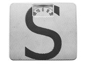 S letter painted on balance — Stock Photo
