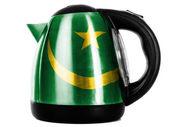 Mauritius flag painted on shiny metallic kettle — Stock Photo