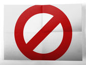 Forbidden sign painted on simple paper sheet — Stock Photo