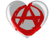 Anarchy symbol painted n painted on glossy heart icon — Stock Photo