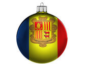 Andorra flag on a Christmas, x-mas toy — Zdjęcie stockowe