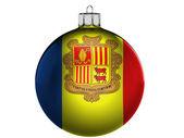Bandera de andorra en una navidad, juguete de navidad — Foto de Stock