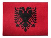 Albania. Albanian flag painted on carton box — Stock Photo