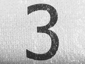 3. Three number painted on bubblewrap — Stock Photo