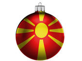 Macedonia flag on a Christmas, x-mas toy — Stok fotoğraf