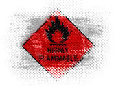 Highly flammable sign drawn on on dotted surface — Stok fotoğraf
