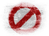 Forbidden sign painted on on dotted surface — Stock Photo