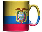 Ecuador flag painted on coffee mug or cup — Stock Photo
