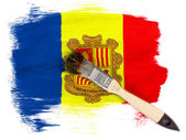 Andorra flag painted with brush over it — Stock Photo