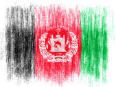 Afghanistan flag drawn on white background with colored crayons — Stock Photo