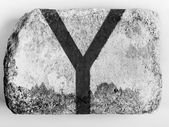 Y letter painted on brick — Stock Photo