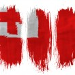 Tonga flag painted with 3 vertical brush strokes on white background - Stock Photo