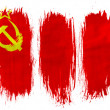 The USSR flag painted on painted with 3 vertical brush strokes on white background — Stock Photo