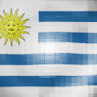 Stock Photo: Uruguay flag on wavy plastic surface