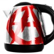 Stock Photo: Anarchy symbol painted on shiny metallic kettle