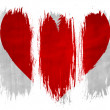 Red Heart symbol painted on painted with 3 vertical brush strokes on white background — Stock Photo #23457456