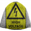 High voltage sign drawn at painted on cap — Stock Photo