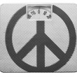 Peace symbol painted on painted on balance - Stock Photo