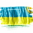 Ruanda flag painted with watercolor on wet white paper - Stock Photo