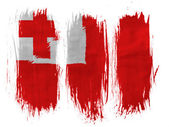 Tonga flag painted with 3 vertical brush strokes on white background — Stock Photo