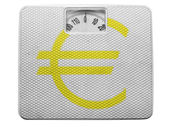 Euro currency sign painted on painted on balance — Stock Photo