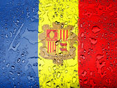 Andorra flag covered with water drops — Stock Photo