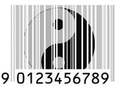 The Ying Yang sign painted on barcode surface — Stock Photo