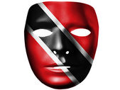 Trinidad and Tobago flag painted on theater plastic mask — Stock Photo