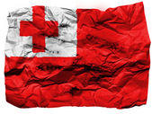 Tonga flag painted on crumpled paper — Stock Photo