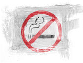 No smoking sign painted with watercolor on paper — Stock Photo