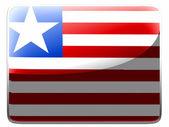 Liberia. Liberian flag painted on square interface icon — Stock Photo