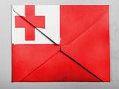 Tonga flag painted on grey envelope — Stock Photo