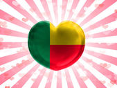 Benin. Benini flag painted on glass heart on stripped background — Stock Photo