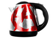 Anarchy symbol painted on shiny metallic kettle — Stock Photo