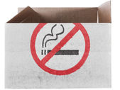 No smoking sign painted on carton box or package — Stock Photo