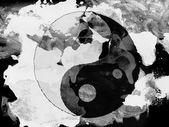 Le signe d'yang ying peint avec l'aquarelle sur papier noir — Photo
