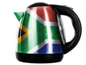 South African flag painted on shiny metallic kettle — Stock Photo