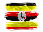 Uganda flag painted with three strokes of paint in white — Stock Photo