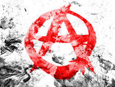 Anarchy symbol painted dirty and grungy paper — Stock Photo