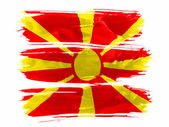 Macedonia flag painted with three strokes of paint in white — Stock Photo