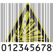 Explosive sign drawn on painted on barcode surface — Foto Stock