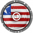 Liberia. Liberian flag painted on sound speaker - Stock Photo