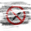 No smoking sign drawn at painted on paper with colored charcoals - Stock Photo