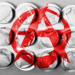 Stock Photo: Anarchy symbol painted n painted on tablets or pills