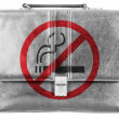 Stock Photo: No smoking sign painted on small briefcaseor leather handbag